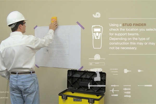 """Using a stud finder"" image represents a sequence of customer training videos produced by EKADOO for Smartlinx"