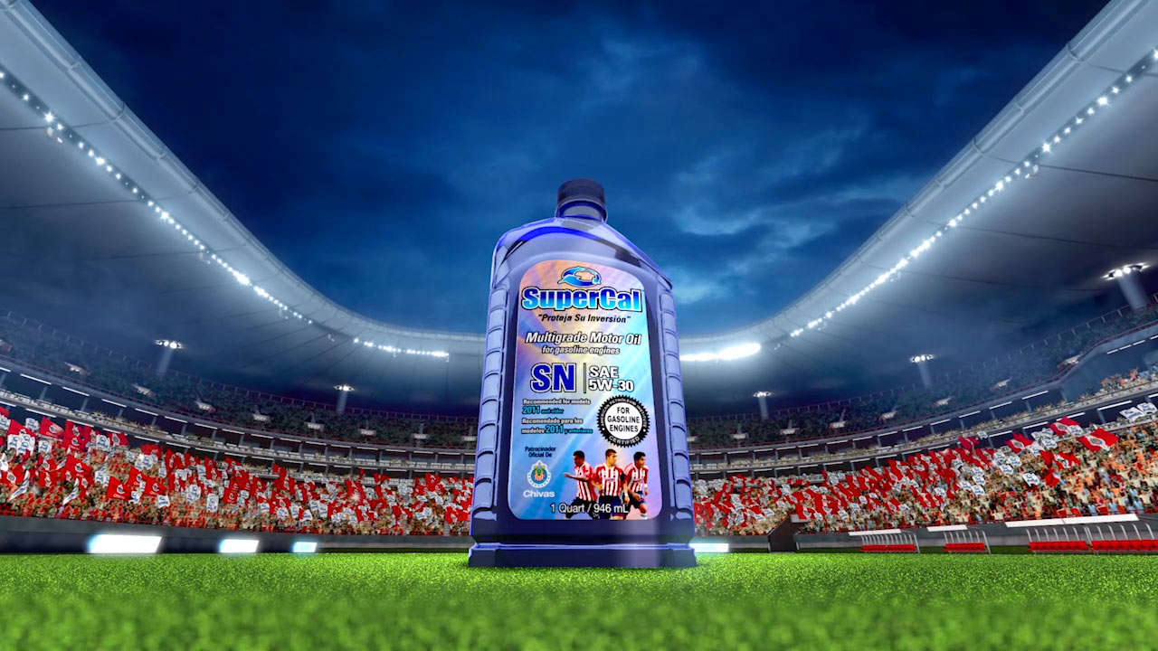 The featured image represents a 3D visualization of the final scene produced by EKADOO.com for the SuperCal Oil commercial