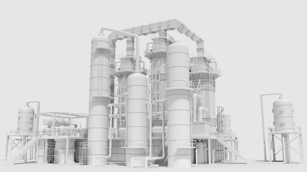 The power plant 3D model image represents online OSHA training curriculum based on 3D visualization and video animations techniques by EKADOO