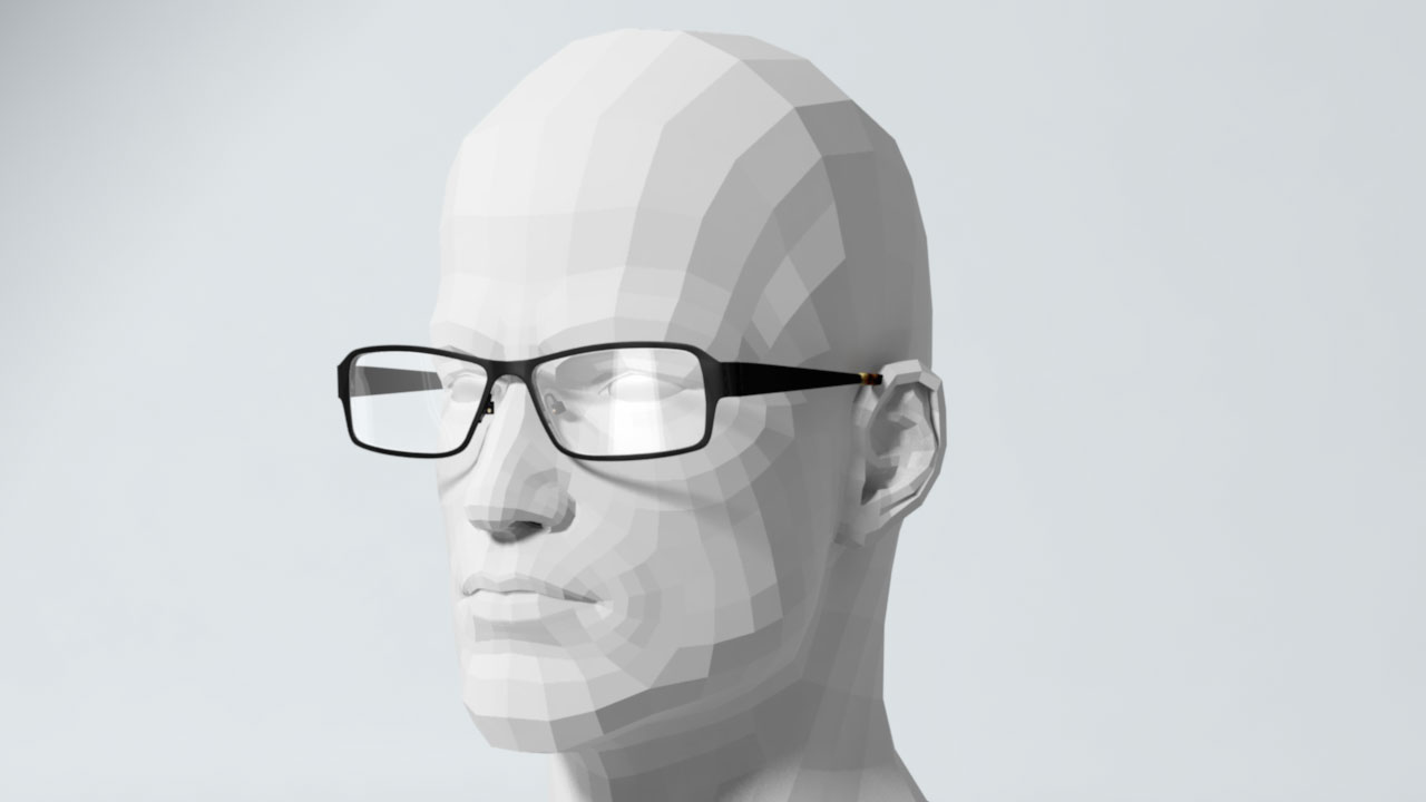 The image of mannequin head wearing glasses represents 3D product visualization services provided by EKADOO for Glasses.com application
