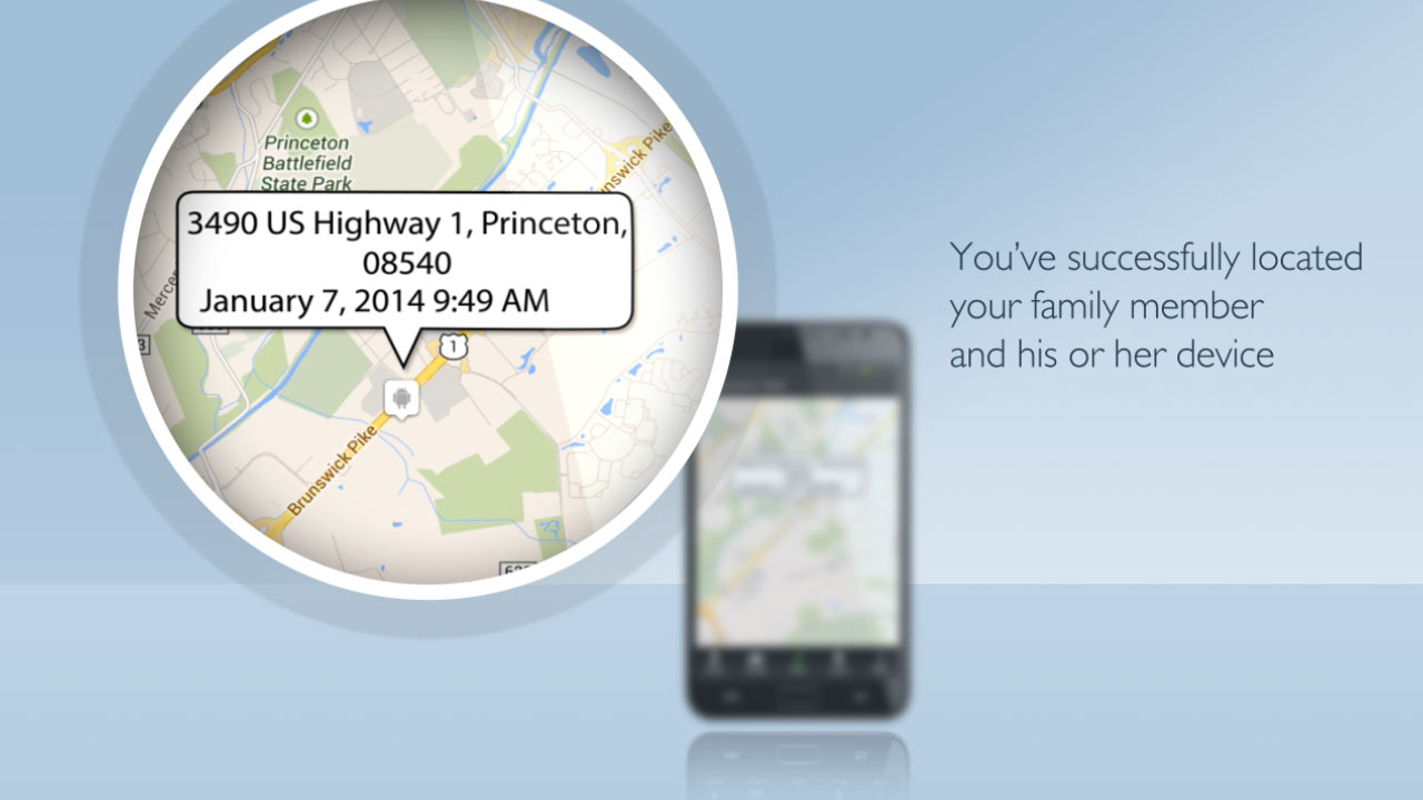 The family member's GPS location screenshot from the explainer video production for SnapOne mobile applications provided by EKADOO.com