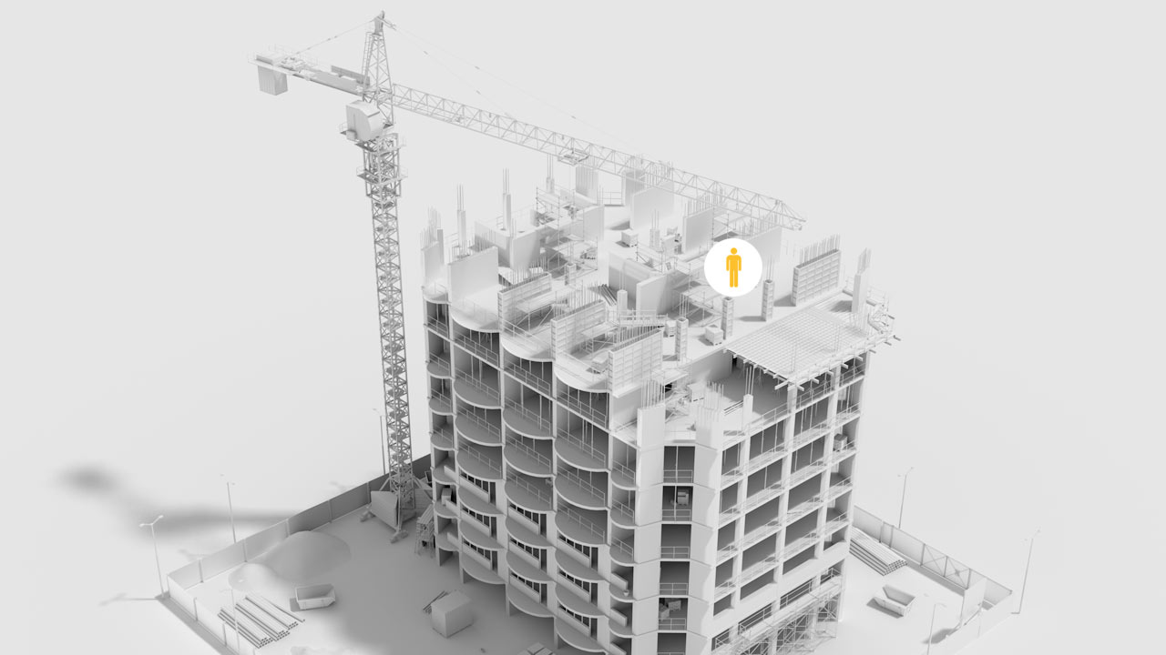 3D visualization of the multi story residential constructional set represents the e-learning content development project produced by EKADOO