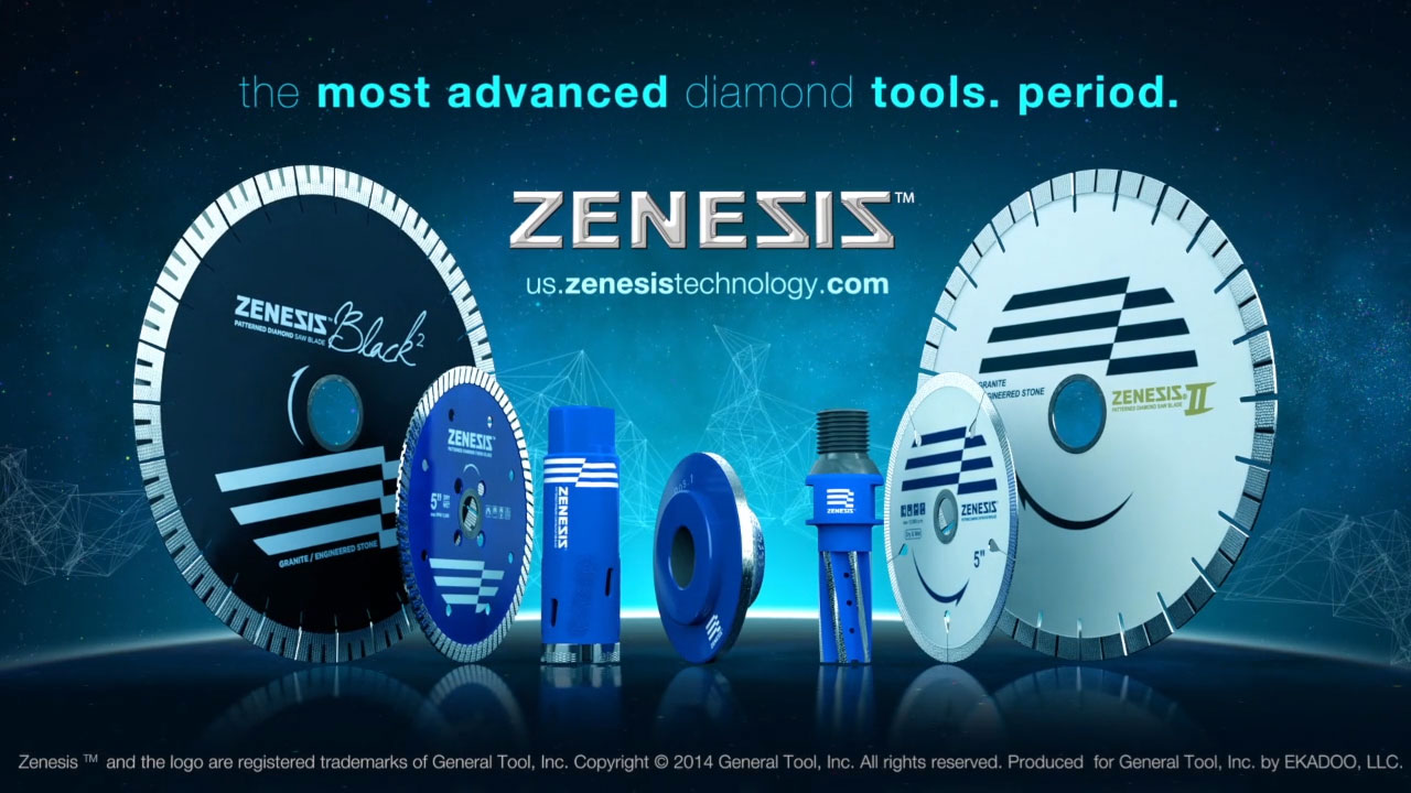 The closing video screenshot represents a set of product videos produced by EKADOO for ZENESIS - a proprietary diamond tools manufacturer