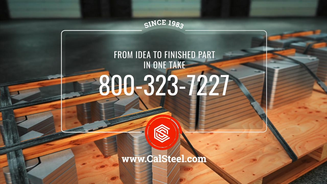 The call to action pack shot image represents a promotional video produced by EKADOO.com for plasma cutting services of the calsteel.com