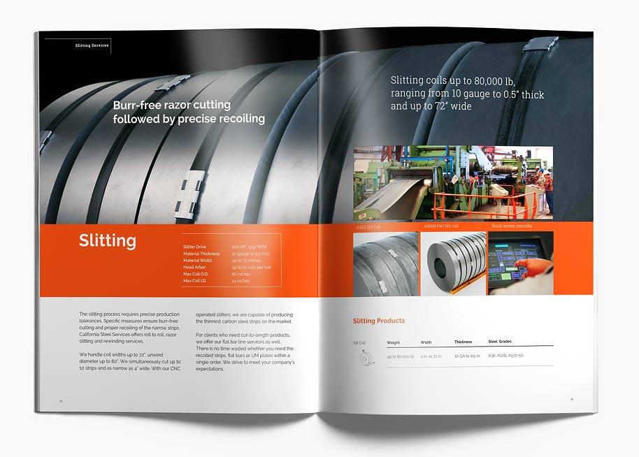 Branding Calsteel brochure P14-15 spread