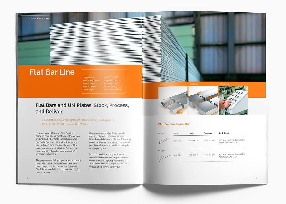 Branding Calsteel brochure P16-17 spread