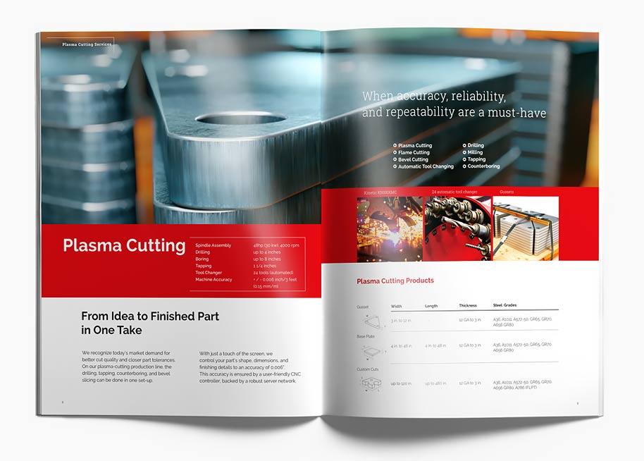 Branding Calsteel brochure P8-9 spread