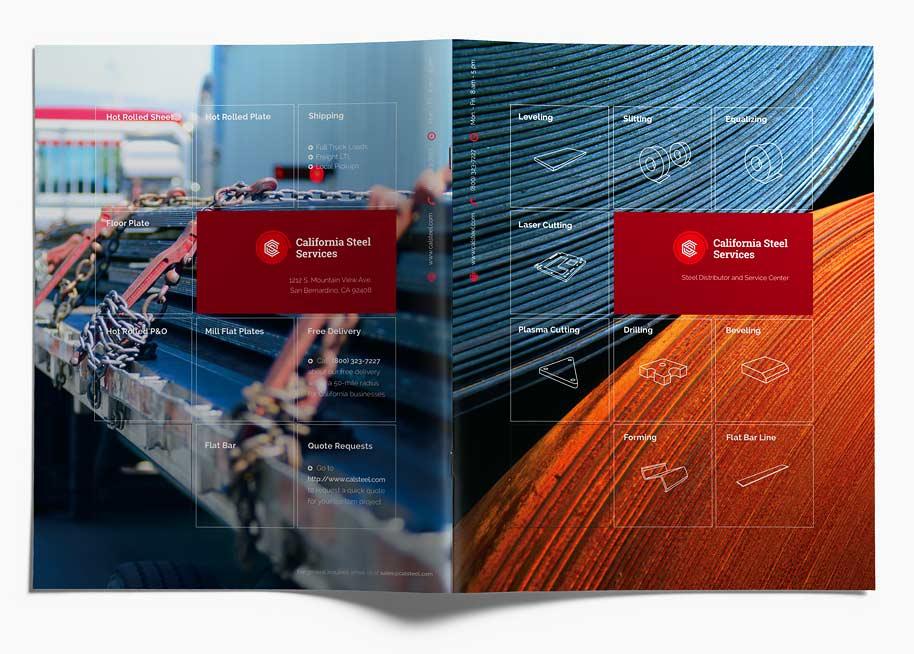Branding Calsteel brochure cover spread